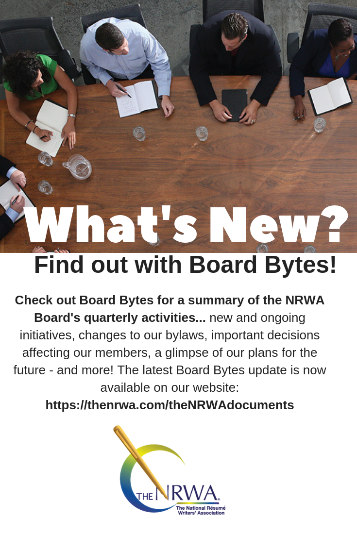 What's New Find out with Board Bytes! Check out Board Bytes for a summary of the NRWA Board's quarterly activities... new and ongoing initiatives, changes to our bylaws, important decisions affecting our members, a glimpse of our plans for the future - and more! The latest Board Bytes is now available on our website.
